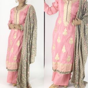 Three piece embroidered palazzo suit size 40